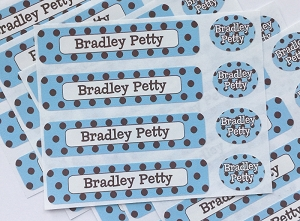 waterproof name label packs - set of 48 - CHOCOLATE DOTS BLUE