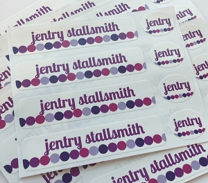 waterproof name label packs - set of 48 - DOT DOT DOT TOTES PURPLE