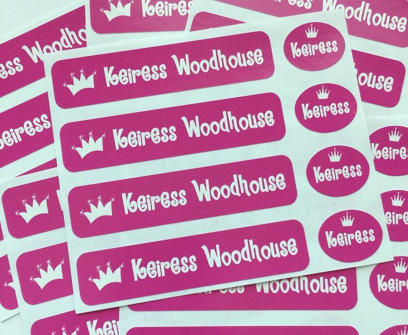 waterproof name label packs - set of 48 - PRINCESS