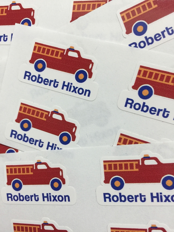 waterproof name labels - set of 26 - FIRE TRUCK