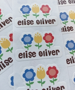 waterproof name labels - set of 26 - FLOWERBED