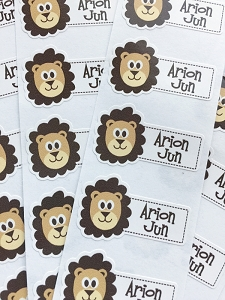 waterproof name labels - set of 26 - LION