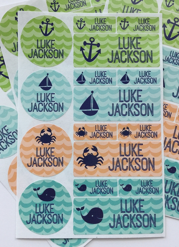 waterproof name label packs - set of 64 - WAVES