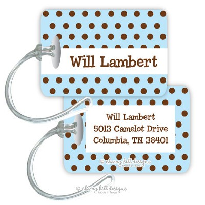 Personalized rectangle premium bag tag - CHOCOLATE DOTS BLUE