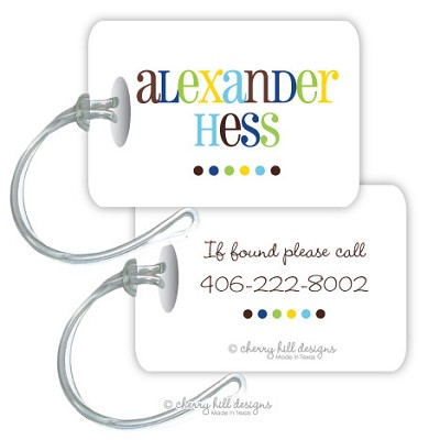 Personalized rectangle premium bag tag - GOOD CHEER BLUE