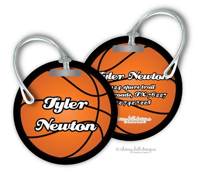 Personalized round premium bag tag - BASKETBALL