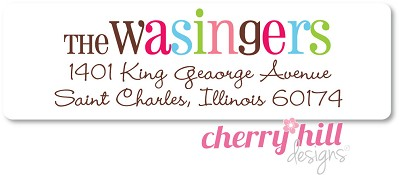 Colorful return address labels from Cherry Hill Designs