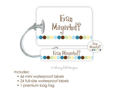 Dot Dot Dot blue - waterproof name labels and bag tag combo