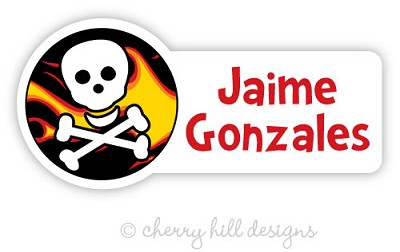 waterproof name labels - set of 24 - FLAMES N SKULL