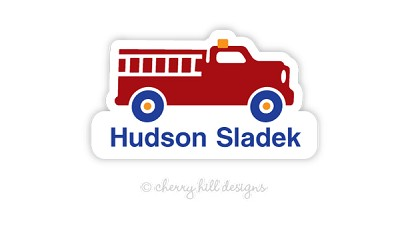 waterproof name labels - set of 24 - FIRE TRUCK
