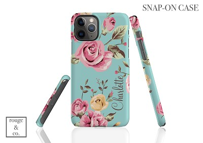 Blue Floral Personalized iPhone Case