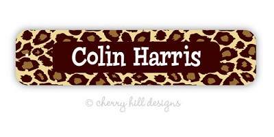 waterproof name labels - set of 24 - JUNGLE FUN BROWN