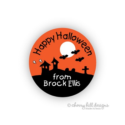 Bats round halloween goodie tags - set of 24