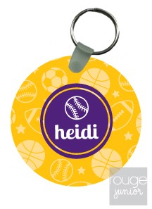 "Monogramed keychains make a great, inexpensive gift for anyone on your list. Our 2.5"" round designer keychains are made of glossy, super-thick plastic for durability."