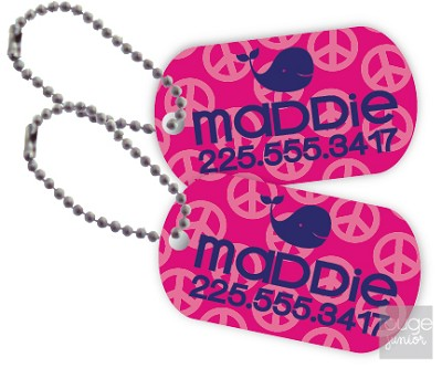 "Mini 2""x1"" aluminum tags are super-cute and long-lasting!  Nickel plated ball chain included. Useful for lots of items like diaper bags, lunch boxes, backpacks, gym bags, or book totes. Lightweight and small enough to attach to a zipper or keychain!"
