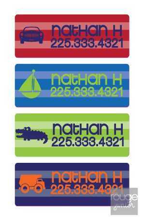"No sewing necessary! Adorable set of mini name labels (1.25""x0.5"") in a smooth, itch-free iron on material. Perfect for labeling school uniforms, jackets, sweaters, clothing, summer camp gear, cloth diapers, tote bags...anything that leaves the house! Personalized with any name or a name with phone number. Labels are permanent, and can be machine washed and dried!"
