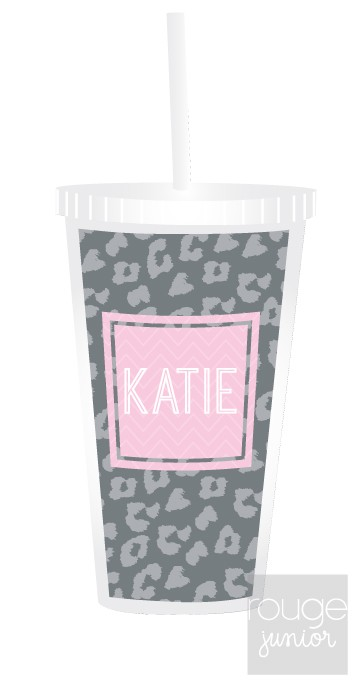 Super-cute 16 oz. acrylic tumbler with custom pattern and adorable monogram. Clear acrylic straw with built-in stopper included so straw doesn't slip out. BPA free. Not microwave or dishwasher safe; hand washing recommended.