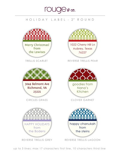 "Easy-order 2"" round waterproof labels for address labels, holiday gifts and homemade goodies! **click photo to enlarge**"
