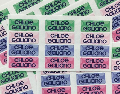 "Tiny (1.25"" x 0.5"") waterproof, dishwasher-safe name labels that stick just about anywhere. Handy for labeling lunchware, daycare gear, school supplies, water bottles, sippy cups, pool toys and anything that leaves the house!"